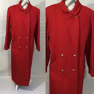 Vintage 90s Double Breasted Red Wool Trench Coat